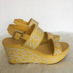 Tory Burch Yellow Reena Wedge Sandals / 6.5